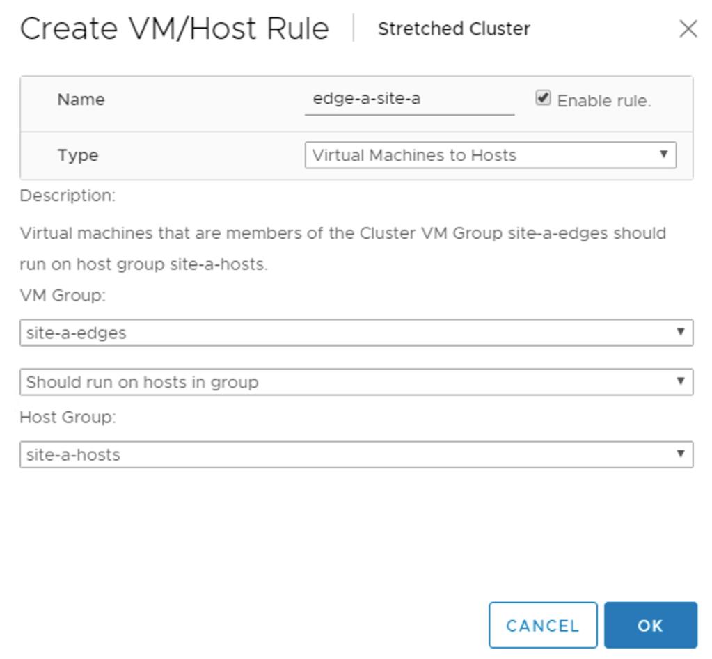 vm to host rule